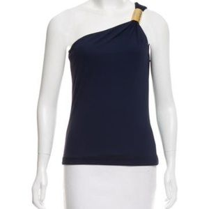 Michael Cors  navy one shoulder gold detail top